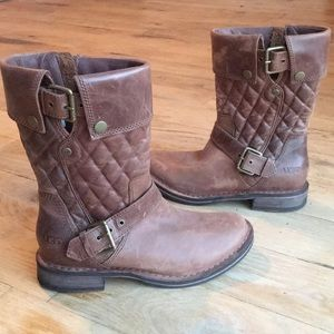 Ugg Conor Brown Quilted Leather Boot size 6